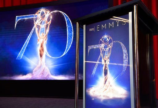 (Photo by Chris Pizzello/Invision/AP). A screen and podium appear on stage at the 70th Primetime Emmy Nominations Announcements at the Television Academy's Saban Media Center on Thursday, July 12, 2018, in Los Angeles.