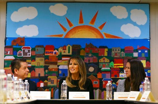 (AP Photo/Carolyn Kaster). First lady Melania Trump, joined by Alexia Jo Rodriguez, Southwest Key Vice President, right, and Geraldo Gabriel Rivera, Southwest Key Associate Vice President, left, participates in a roundtable discussion.