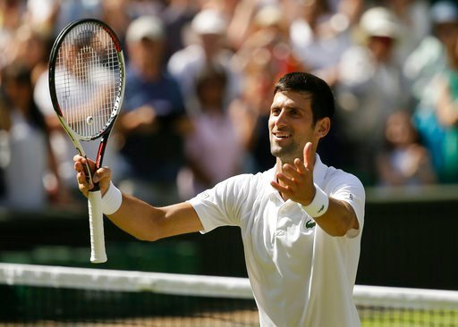 (AP Photo/Tim Ireland). Novak Djokovic of Serbia celebrates defeating Kei Nishikori of Japan during their men's quarterfinal match at the Wimbledon Tennis Championships in London, Wednesday July 11, 2018.