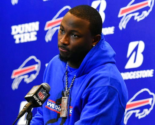(AP Photo/Rich Barnes, File). FILE - In this Dec. 17, 2017, file photo, Buffalo Bills running back LeSean McCoy (25) speaks with the media following an NFL football game against the Miami Dolphins, in Orchard Park, N.Y. LeSean McCoy says an allegation ...