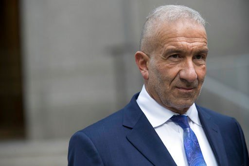 (AP Photo/Mary Altaffer). Alain Kaloyeros, a former president of the State University of New York's Polytechnic Institute, leaves Federal court where he is on trial on corruption charges, Wednesday, July 11, 2018, in New York. The case involves Kaloyer...