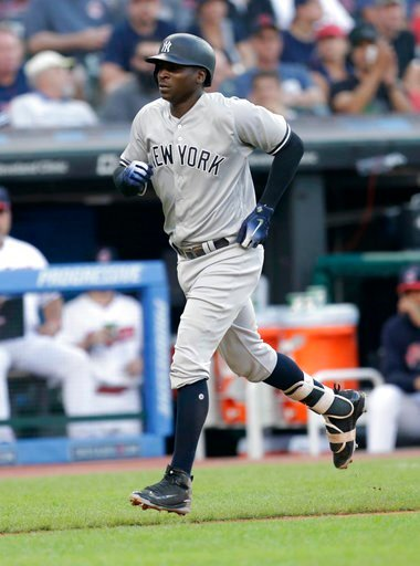 (AP Photo/Tony Dejak). New York Yankees' Didi Gregorius runs the bases after hitting a solo home run off Cleveland Indians starting pitcher Corey Kluber during the fourth inning of a baseball game, Thursday, July 12, 2018, in Cleveland.