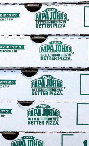 (AP Photo/Charles Krupa, File). FILE- This Dec. 21, 2017, file photo shows pizza boxes stacked at a Papa John's pizza store in Quincy, Mass. Papa John's plans to pull founder John Schnatter's image from marketing materials following use of racial slur....