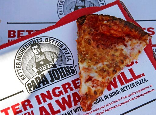 (AP Photo/Charles Krupa, File). This Dec. 21, 2017, file photo shows a slice of cheese pizza at the Papa John's pizza shop in Quincy, Mass. Papa John's plans to pull Schnatter's image from marketing materials following use of racial slur. Schnatter apo...