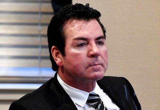 (AP Photo/Timothy D. Easley, File). FILE - In this Oct. 18, 2017, file photo, Papa John's founder and CEO John Schnatter attends a meeting in Louisville, Ky. Papa John's plans to pull Schnatter's image from marketing materials following use of racial s...