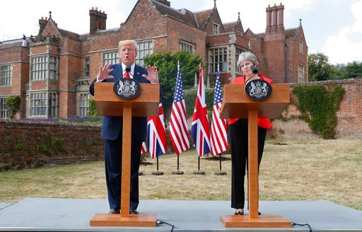 (AP Photo/Pablo Martinez Monsivais). President Donald Trump with British Prime Minister Theresa May during their joint news conference at Chequers, in Buckinghamshire, England, Friday, July 13, 2018.