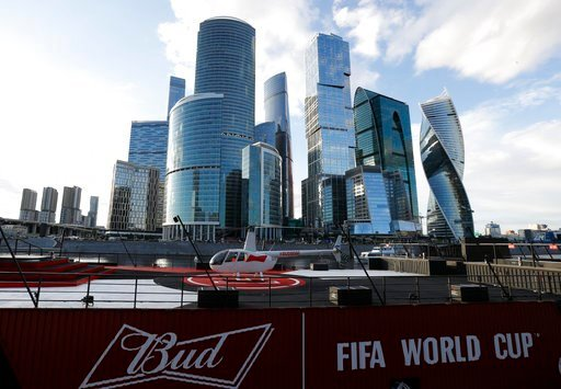 (AP Photo/Rebecca Blackwell). In this July 5, 2018 photo, a helicopter sits atop the Budweiser boat, parked on the Moskva River during the 2018 soccer World Cup in Moscow, Russia.