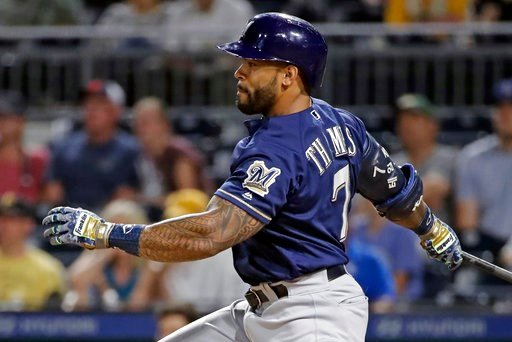 (AP Photo/Gene J. Puskar). Milwaukee Brewers' Eric Thames watches his RBI single off Pittsburgh Pirates reliever Michael Feliz during the ninth inning of a baseball game in Pittsburgh, Thursday, July 12, 2018. The Pirates won 6-3.