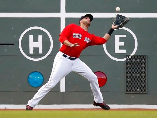 (AP Photo/Michael Dwyer). Boston Red Sox's J.D. Martinez makes the catch on a sacrifice fly from Dwight Smith Jr. during the second inning of a baseball game in Boston, Friday, July 13, 2018.
