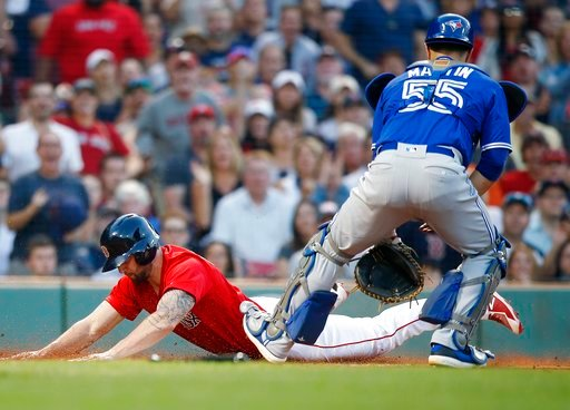 (AP Photo/Michael Dwyer). Boston Red Sox's Sam Travis, left, scores in front of Toronto Blue Jays' Russell Martin (55) on a single by Jackie Bradley Jr. during the second inning of a baseball game in Boston, Friday, July 13, 2018.