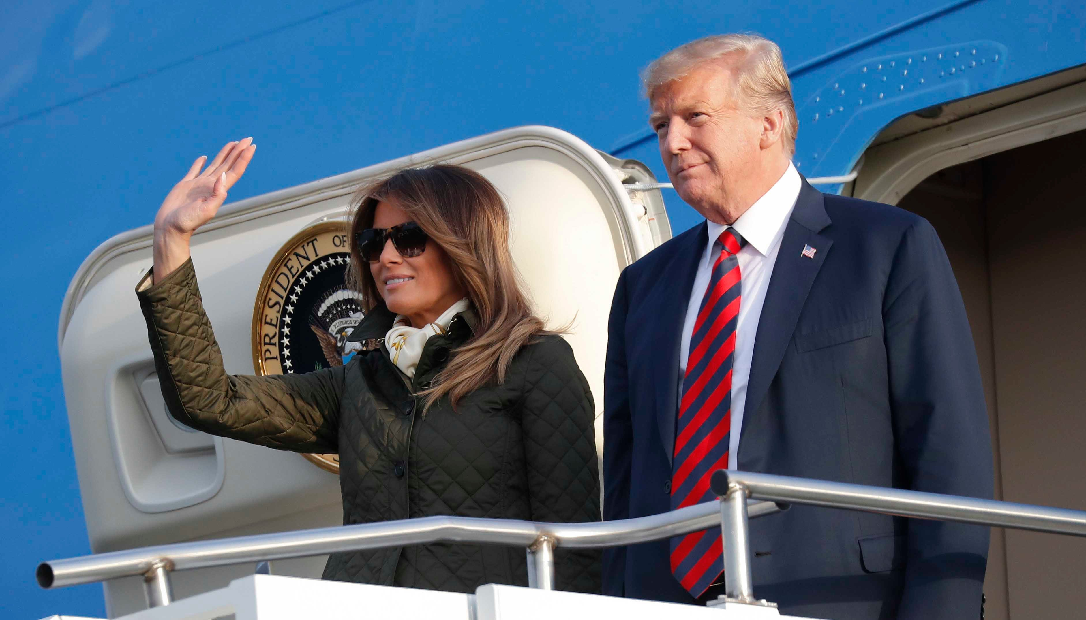 President Donald Trump and first lady Melania Trump arrived at Glasgow Prestwick Airport in Scotland on Friday, July 13, 2018. (AP Photo/Pablo Martinez Monsivais)