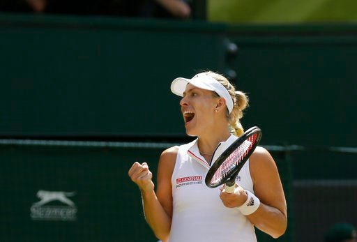 (AP Photo/Tim Ireland). Germany's Angelique Kerber celebrates defeating Latvia's Jelena Ostapenko during their women's singles semifinals match at the Wimbledon Tennis Championships, in London, Thursday July 12, 2018.