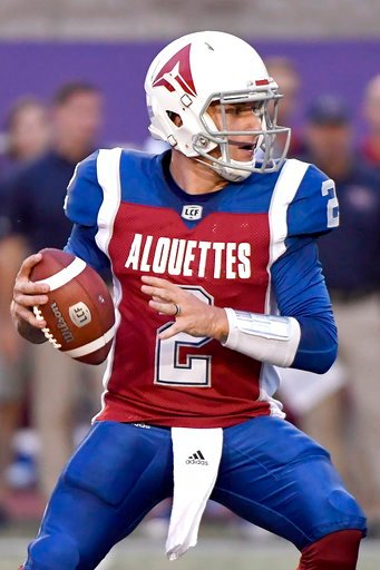(Paul Chiasson/The Canadian Press via AP). Montreal Alouettes quarterback Johnny Manziel (2) looks for a receiver during the first half of a Canadian Football League game against the Hamilton Tiger-Cats on Friday, Aug. 3, 2018, in Montreal.