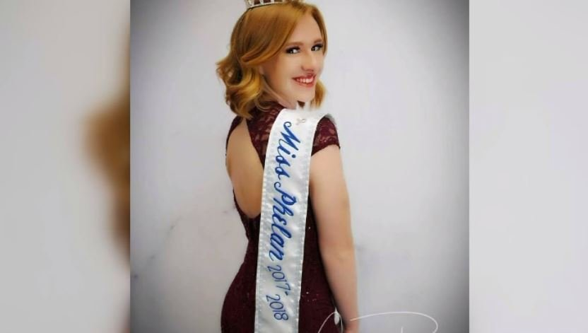 Sierra Leyde didn't have tattoos when she was named Miss Phelan at age 17. (Source: KCAL/KCBS/CNN)