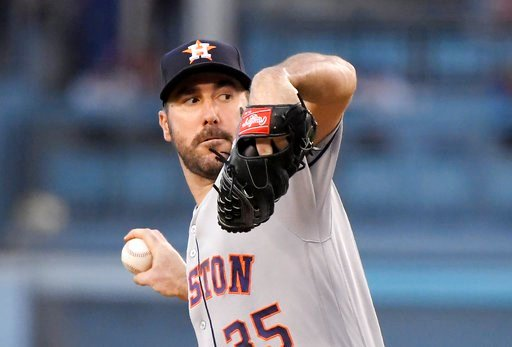 (AP Photo/Mark J. Terrill). Houston Astros starting pitcher Justin Verlander throws during the first inning of the team's baseball game against the Los Angeles Dodgers on Friday, Aug. 3, 2018, in Los Angeles.
