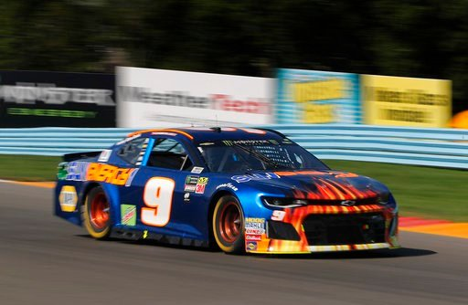 (AP Photo/Julie Jacobson). Chase Elliott (9) makes his way through the esses during a NASCAR Cup Series auto race, Sunday, Aug. 5, 2018, in Watkins Glen, N.Y.