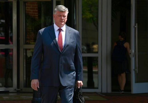 (AP Photo/Susan Walsh). Kevin Downing, attorney for Paul Manafort, walks to the Alexandria Federal Courthouse in Alexandria, Va., Monday, Aug. 6, 2018, for President Donald Trump's former campaign chairman Manafort's tax evasion and bank fraud trial.
