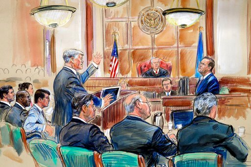 (Dana Verkouteren via AP). This courtroom sketch depicts defense lawyer Kevin Downing asking questions of Rick Gates, as former Donald Trump campaign chairman Paul Manafort, bottom front left, listens during Manafort's trial on bank fraud and tax evasion.