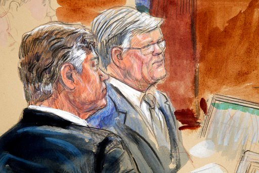 (Dana Verkouteren via AP). This courtroom sketch depicts former Donald Trump campaign chairman Paul Manafort, left, listening with his lawyer Kevin Downing to testimony from government witness Rick Gates as Manafort's trial continues at federal court.