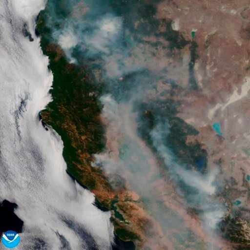 (NOAA via AP). This satellite image released on Tuesday, Aug. 7, 2018, provided by NOAA shows the wildfires known as the Mendocino Complex, Calif.