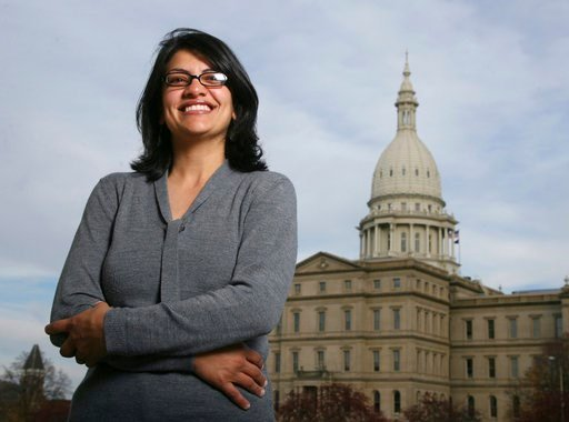 (AP Photo/Al Goldis, File). FILE - In this Thursday, Nov. 6, 2008, file photo, Rashida Tlaib, a Democrat, is photographed outside the Michigan Capitol in Lansing, Mich. In the primary election Tuesday, Aug. 7, 2018, Democrats pick former Michigan state...