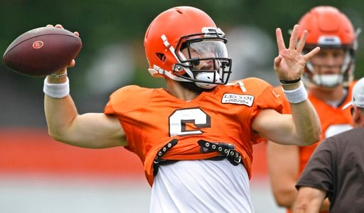 (AP Photo/David Dermer). Cleveland Browns quarterback Baker Mayfield throws during NFL football training camp Tuesday, Aug. 7, 2018, in Berea, Ohio.