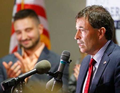 (AP Photo/Jay LaPrete). Troy Balderson, Republican candidate for Ohio's 12th Congressional District, speaks to a crowd of supporters during an election night party Tuesday, Aug. 7, 2018, in Newark, Ohio.