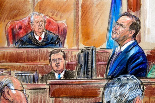 (Dana Verkouteren via AP). This courtroom sketch depicts Rick Gates on the witness stand as he is cross examined by defense lawyer Kevin Downing during the trial of former Donald Trump campaign chairman Paul Manafort on bank fraud and tax evasion.