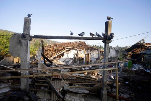 (AP Photo/Firdia Lisnawati). Birds sit above earthquake-damaged homes in North Lombok, Indonesia, Thursday, Aug. 9, 2018. The north of Lombok was devastated by the powerful quake that struck Sunday night, damaging thousands of buildings and killing a l...