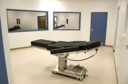 (Nevada Department of Corrections via AP, File). This Nov. 10, 2016, file photo released by the Nevada Department of Corrections shows the newly completed execution chamber at Ely State Prison in Ely, Nev.