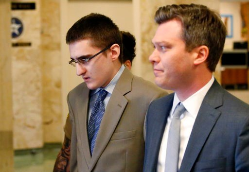 (AP Photo/Sue Ogrocki, File). FILE - In this Tuesday, April 17, 2018 file photo, Michael Bever, left, is led from a courtroom following jury selection in his trial in Tulsa, Okla.. At right is his defense attorney Corbin Brewster. Michael Bever, the yo...