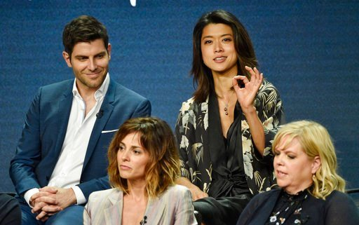 """(Photo by Chris Pizzello/Invision/AP). Grace Park, top right, answers a question as fellow cast members in the Disney ABC television series """"A Million Little Things,"""" David Giuntoli, top left, and Stephanie Szostak, bottom left, and executive producer ..."""