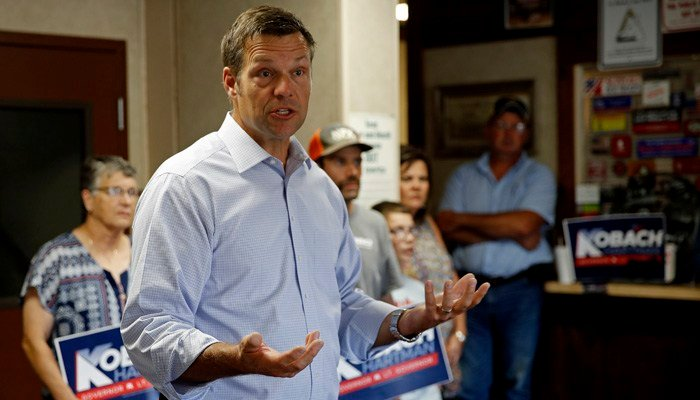 Kobach's already tiny lead shrunk from 191 votes to just 121 out of 311,000 ballots cast, after two counties reported discrepancies. (Source: AP Photo/Charlie Riedel)
