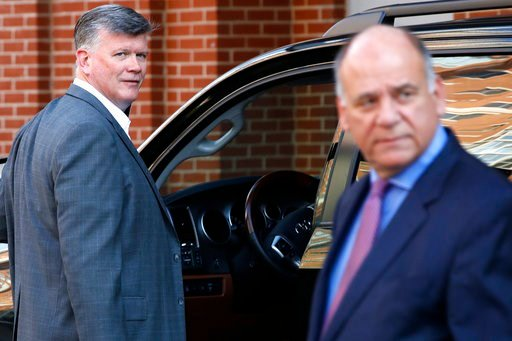 (AP Photo/Jacquelyn Martin). The defense team for Paul Manafort, including Kevin Downing, left, and Thomas Zehnle, right, arrive to attend federal court as the trial of the former Trump campaign chairman continues, in Alexandria, Va., Thursday, Aug. 9,...