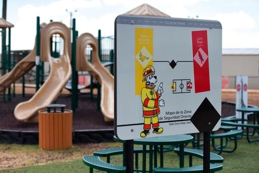 (Charles Reed/U.S. Immigration and Customs Enforcement via AP). This Thursday, Aug. 9, 2018, photo, provided by U.S. Immigration and Customs Enforcement, shows a playground area at the South Texas Family Residential Center in Dilley, Texas. Currently h...