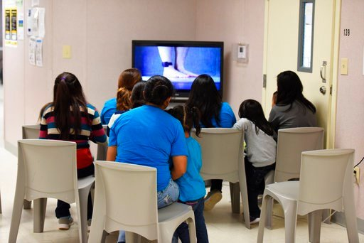 (Charles Reed/U.S. Immigration and Customs Enforcement via AP). This Thursday, Aug. 9, 2018, photo, provided by U.S. Immigration and Customs Enforcement, shows a scene from a tour of South Texas Family Residential Center in Dilley, Texas. Currently hou...