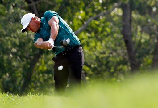(AP Photo/Jeff Roberson). Brooks Koepka hits from the 12th tee during the final round of the PGA Championship golf tournament at Bellerive Country Club, Sunday, Aug. 12, 2018, in St. Louis.