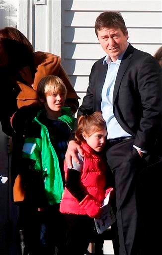 (AP Photo/Jason DeCrow). Mourners wait outside before the funeral service of Victoria Soto at Lordship Community Church, Wednesday, Dec. 19, 2012, in Stratford, Conn.