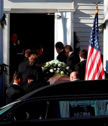 (AP Photo/Jason DeCrow). A coffin bearing the body of Victoria Soto is carried into Lordship Community Church before her funeral service, Wednesday, Dec. 19, 2012, in Stratford, Conn.