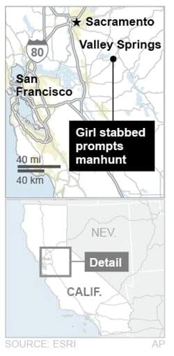 Tense Calif. town hunts man who killed girl, 8