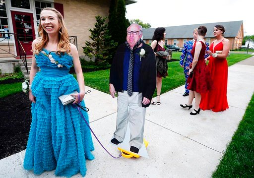 Allison Closs arrives for the Carlisle High School senior prom at Letort  View Community Center at Carlisle Barracks in Carlise, Pa., on Friday, May  11, ...