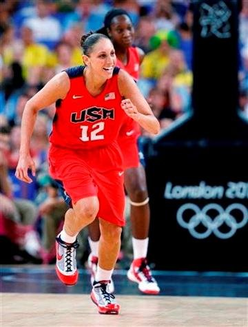 (AP Photo/Eric Gay). USA's Diana Taurasi smiles as she runs up court during ...