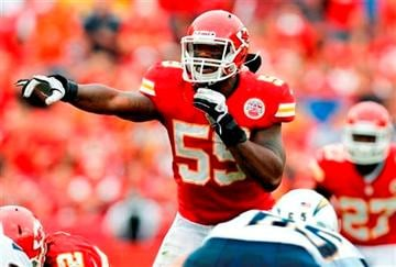 (AP Photo/Ed Zurga, File). FILE - In this Sept. 30, 2012 file photo, Kansas City Chiefs inside linebacker Jovan Belcher (59) gestures at the line of scrimmage during an NFL football game against the San Diego Chargers in Kansas City, Mo.