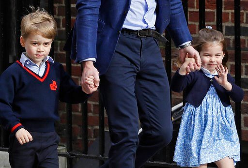 (AP Photo/Kirsty Wigglesworth, File). FILE - In this  Monday, April 23, 2018 file photo, Britain's Prince William arrives with Prince George and Princess Charlotte at the Lindo wing at St Mary's Hospital in London. Kensington Palace said Wednesday May ...