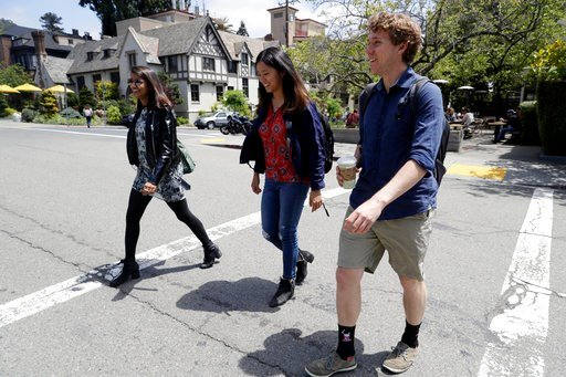 (AP Photo/Marcio Jose Sanchez). University of California students, from left, Anjali Banerjee, Alice Ma and Tyler Heintz walk near the university's campus Wednesday, June 6, 2018, in, Berkeley, Calif. The students who were in Nice, France when a terror...