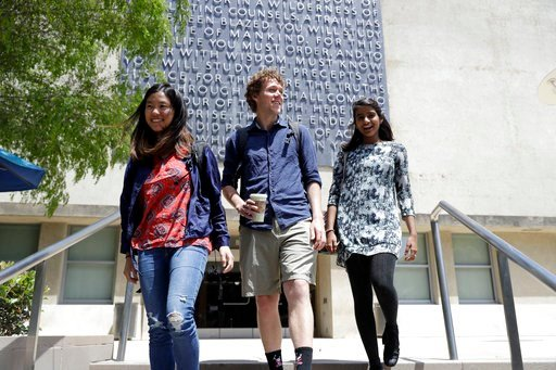 (AP Photo/Marcio Jose Sanchez). University of California students, from left, Alice Ma,Tyler Heintz and Anjali Banerjee walk near the university's campus Wednesday, June 6, 2018, in, Berkeley, Calif. The students who were in Nice, France when a terrori...