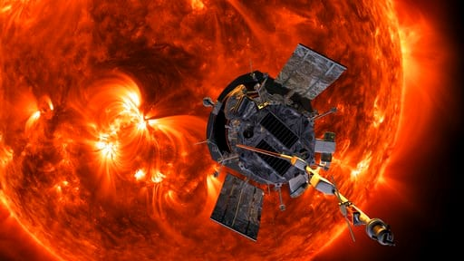 (Steve Gribben/Johns Hopkins APL/NASA via AP). This image made available by NASA shows an artist's rendering of the Parker Solar Probe approaching the sun.