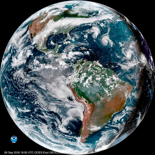 (NOAA via AP). This enhanced satellite image made available by NOAA shows Tropical Storm Florence, third from right, in the Atlantic Ocean on Saturday, Sept. 8, 2018 at 3 p.m. EDT. At right, off the coast of Africa is Tropical Storm Helene, and second ...