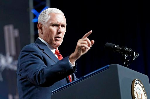 (AP Photo/David J. Phillip, File). In this Aug. 23, 2018, file photo, Vice President Mike Pence speaks during a visit to NASA's Johnson Space Center in Houston.