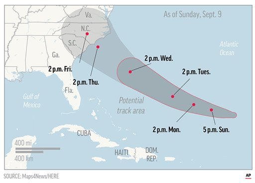 Map shows probable path of Hurricane Florence.